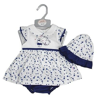 Cute Baby Girl Summer Soft Outfit Dress Hat Knickers Teddy Bear 3pc Set NB 0-6 M