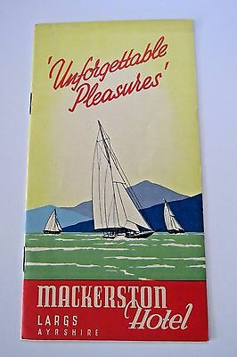 "Vintage 1955 Travel Brochure for ""Largs, Scotland for ""Mackerston Hotel""  *"