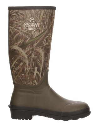 Men's Hunting Fishing Boots, Insulated Waterproof Rubber Outsole, Realtree Xtra