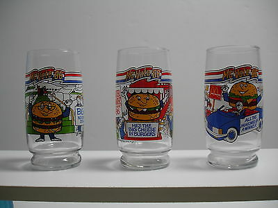 1986 McDONALDS McVOTE '86 COMPLETE THREE-GLASS SET (NEW-NOT USED)
