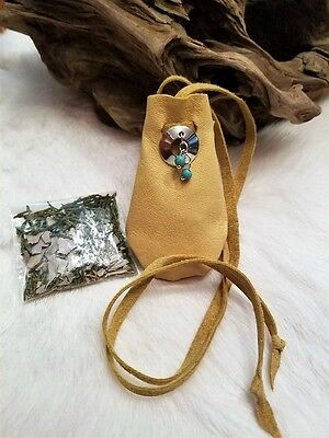 Native American Medicine Bag Leather Pouch Turquoise Beads Cherokee Regalia