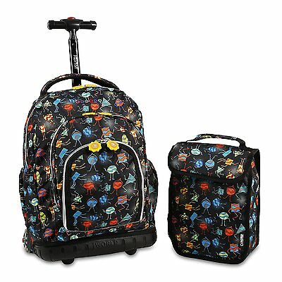 J World New York Boys Lollipop Rolling Lunch Bag Kids Backpack, Party Mobs, One