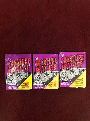 1974 Topps Creature Feature Trading Cards Fun Packs Lot Of 3 Packs