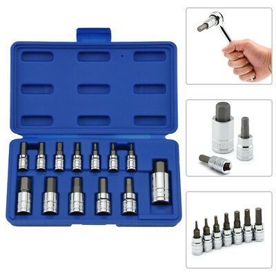 "Hex Bit Socket Set | 13pc Standard Allen Key Wrench 1/4"" 3/8"" 1/2"" Drive Kits"