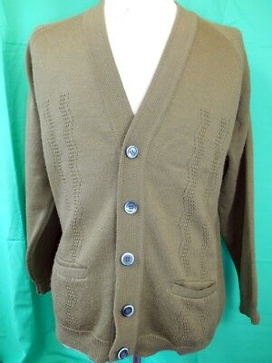 Vintage 60s 70s Green Pure Wool Mr H Esq. Button Up Knitted Cardigan 16 M 95cm