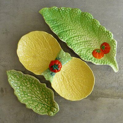 3 Vintage Japanese Leaf Serving Dishes Pottery Tomatoes Yellow and Green Ceramic