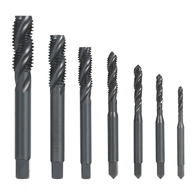 Screw Thread Tap Set Nitriding Coated Metric Spiral Flute Machine Manual 7pcs