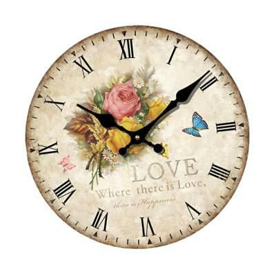 Large Retro Rustic Wooden Wall Clock Antique Shabby Chic Home Kitchen Decor