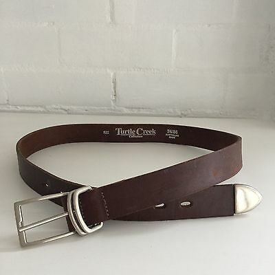 TURTLE CREEK Rustic COUNTRY Brown GENUINE LEATHER Belt Size 34 / 86