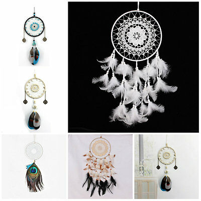 Indian Circle Hanging Wall Dream catcher Feathers Turquoise Decor