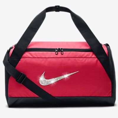 Bling Nike Brasilia Duffel Gym Bag with Swarovski Crystal Bedazzled Swoosh  PINK 761a68bf06a74