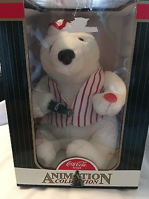 Coca~Cola Soda Jerk Plush Polar Bear with Striped Vest and Coke Bottle 1999