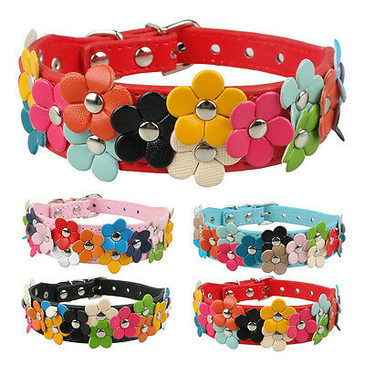 1.0 inch Wide Fancy Full Flowers Studded Pet Dog Collars for Girl Dog S M Yorkie