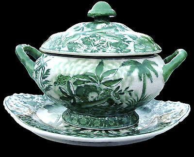 United Wilson Porcelain Factory Green & White Lidded Bowl & Under Plate Set 1897