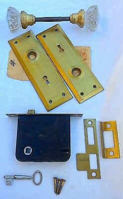 Vintage Brass Yale 12 point CRYSTAL knob Door Lock Set w/key Antique