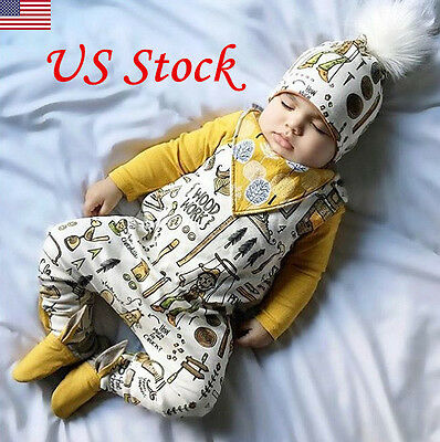 US Cotton Unisex Baby Toddler Clothing Cartoon Romper Jumpsuits Bodysuits New