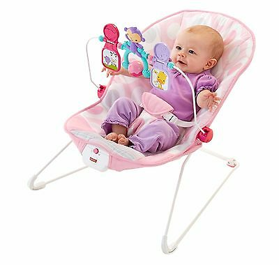 Best Fisher-Price Baby Bouncer Portable Deluxe Chair Seat Girls Pink Toy Bar NEW