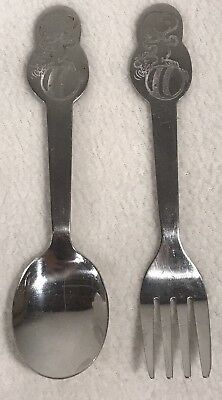 2 Pcs Danara Snoopy Holding Woodstock Fork & Spoon 1965 Stainless