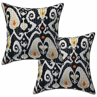 Cotton Pillow Case Covers Ikat Print Kantha Indian Cushion Covers Pair 16