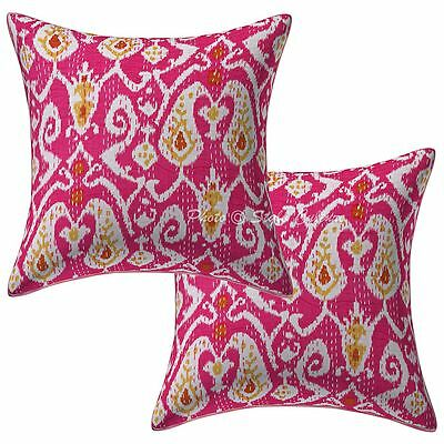 Indian Cotton Ikat Print Kantha Pillow Case Covers 40 Cm Cushion Covers Pair
