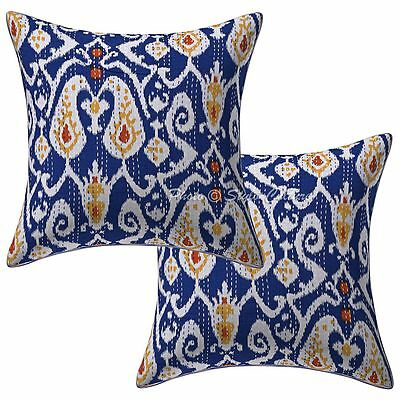 Indian Cotton Ethnic Pillow Case Covers Ikat Print Kantha Cushion Covers Pair