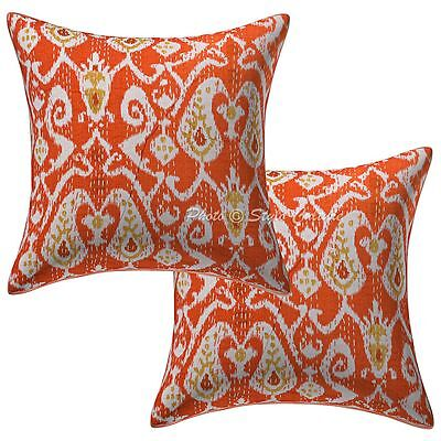 Indian Ikat Print Kantha Cushion Covers 16 x 16 Indian Pillow Case Covers Pair