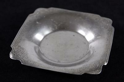 VINTAGE ASIAN 800 SILVER PATTERNED SQUARE SMALL DISH 24.9g