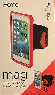 iHome Mag Sport Armband for iPhone 6 / 6s Magnetic Attachment Running Pink NEW