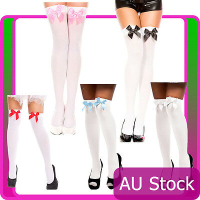 White Thigh High Stockings with Bow Beer Maid Wench Oktoberfest Costume Tights