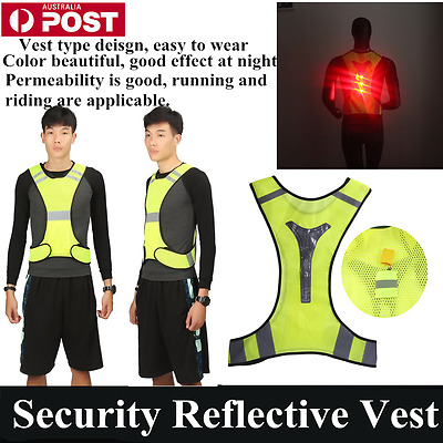 Thin Breathable Night Running Cycyling LED Safety Security Reflective Vest DB