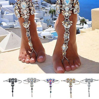 Luxury Crystal Barefoot Sandal Beach Anklet Foot Chain Jewelry Ankle Bracelet AU