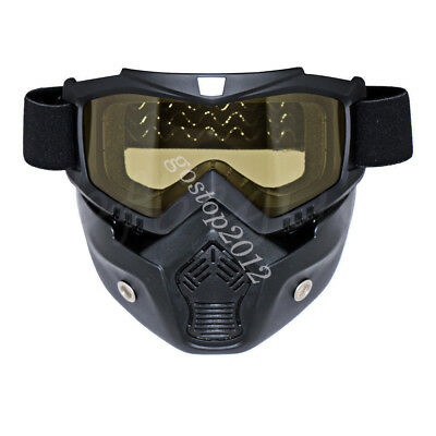 Motorcycle Yellow Lens Riding Anti-UV Goggles Eyewear Scooter Helmet Face Mask