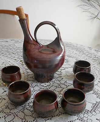 Rare JTC John Ann Crawford pottery barware glazed decanter & 6 small wine cups