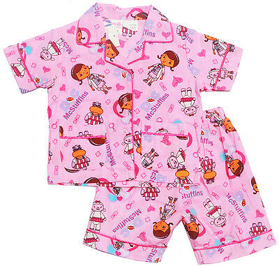 New Size 1-6 Kids Summer Girls Pyjamas Button Doc Mc Stuffins Sleepwear Nighties