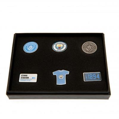 Manchester City Football Club 6 Piece Metal Pin Badge Set Boxed Official Crest S