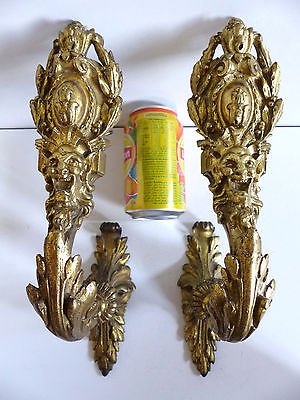 EXCEPTIONNAL PAIR of LARGE ANTIQUE BRONZE HOOK TIEBACKS CURTAINS 19thC w FIGURE