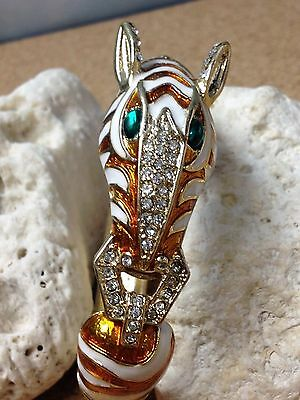 ZEBRA ANIMAL  Womens BANGLE CUFF GOLD BRACELET  Orange ENAMEL STRIPES  w/ STONES