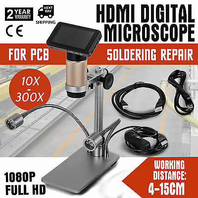 HDMI Digital Microscope For PCB Soldering Repair 10x-300x  Dual Lights 4cm-15cm