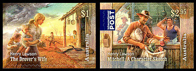 2017 Henry Lawson : 1867-1922 - Set of 2 Self Adhesive Booklet Stamps - MUH