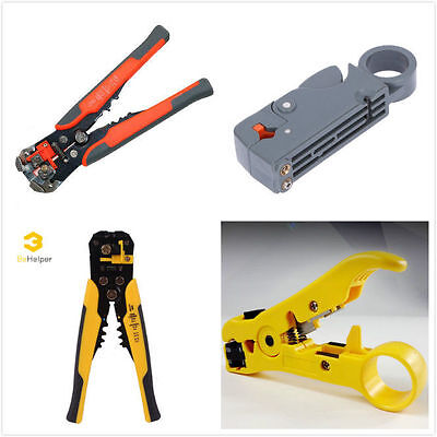 RG6 RG59 RG11 Coaxial Cable Wire Stripper Cutter Crimper Plier Crimping Tool Kit