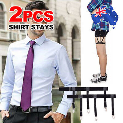 2IN1 Men Shirt Stays Holder Garters Suspenders Military Uniform Non-slip Locking