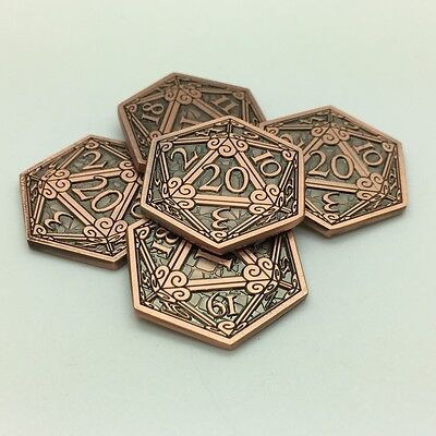 COPPER D20 COIN 5-PACK - Campaign Coins metal token tabletop fantasy RPG dice