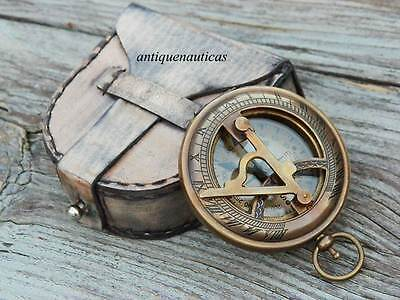 Antique Nautical Collectibles Brass Gift Sundial Compass With Leather Case