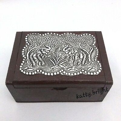 Wooden Box Thai Handmade Elephant Vintage Trinket Jewelry Storage