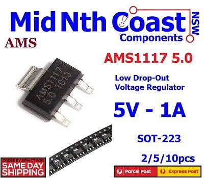 2/5/10pcs  AMS1117 5.0 Volt LM1117 5V 1A SOT-223 LDO Voltage Regulator