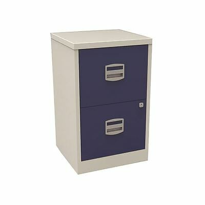 Bisley A4 Personal Filing 2 Drawer Lockable Grey and Blue BY58252 [BY58252]