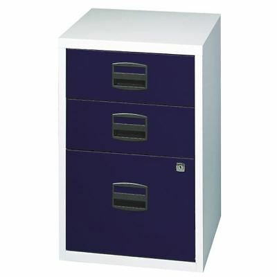 Bisley A4 Home Filer 3 Drawer Lockable Grey and Blue BY59072 [BY59072]