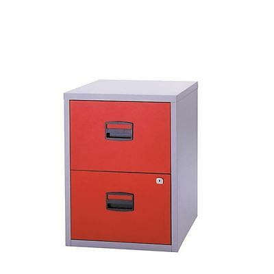 Bisley A4 Personal Filing Cabinet 2 Drawer Lockable Grey and Red [BY59449]
