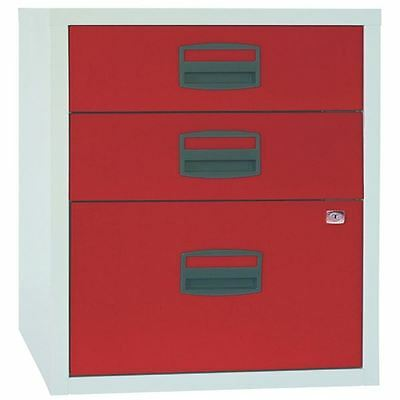 Bisley A4 Home Filer 3 Drawer Lockable Grey and Red BY61415 [BY61415]