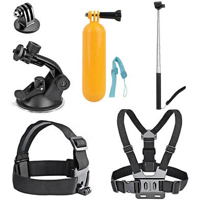 6 in 1 Head Chest Floating Monopod Suction Mount Accessories Kit for Gopro Hero